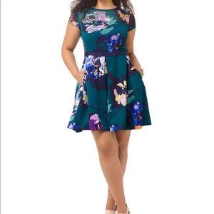 Taylor Georgette Emerald fit flare dress
